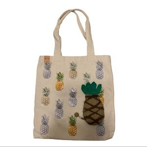 PINEAPPLE bag bundle - canvas tote & wool mini